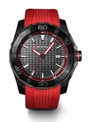 Audi Sport Watch, red rubber